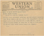 Telegram, circa 1937 Aug., New York, NY, to George Palmer Putnam, Burbank, Calif.