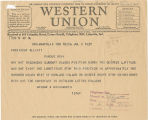 Telegram, 1937 July 8, Indianapolis, Ind., to President Elliott