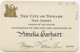 Card given by the City of Newark, New Jersey Mayor's Office to Amelia Earhart