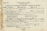 Placard to accompany aircraft license