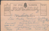 Telegram, circa 1928, to Amelia Earhart, Burry Port