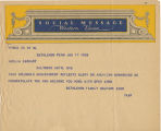 Telegram, 1932 June 17, Bethlehem, Pa., to Amelia Earhart, New York