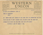 Telegram, 1932 June 19, Muncie, Ind., to Amelia Earhart, New York
