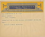 Telegram, circa 1932 June, Rochester, N.Y., to Amelia Earhart