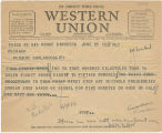 Telegram, 1937 June 25, Bandoeng, to Putnam, Oakland, Calif.