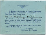 Invitation, dinner sponsored by the National Aeronautic Association of the United States, Paris...