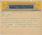 Telegram, circa 1932, Culver City, Calif., to Amelia Earhart, New York