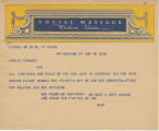 Telegram, 1932 June 18, New York, NY, to Amelia Earhart, New York