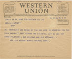 Telegram, 1932 June 20, Chicago, Ill., to Amelia Earhart, New York