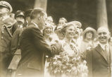 Amelia Earhart receiving award from mayor of New York City