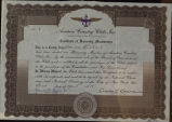 Certificate of honorary membership, 1929 Apr. 1, Aviation Country Clubs, Inc.