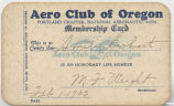 Membership card, Aero Club of Oregon