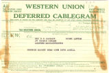 Telegram, ca. 1928, to Mrs. E.S. Earhart, Medford, Mass.