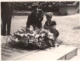 Amelia lays flowers at the Tomb of the Unknown Soldier, Brussels