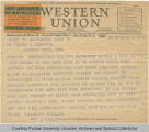 Telegram, 1936 Sept. 30, Pullman, Wash., to Dr. Edward C. Elliott, New York