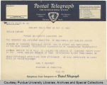 Telegram, 1935 Nov. 15, Oakland, Calif., to Amelia Earhart, Lafayette, Ind.