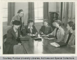 Amelia Earhart with women students