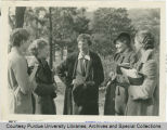 Amelia Earhart talking to coeds on the Purdue University campus