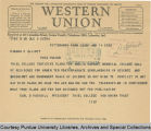 Telegram, 1938 Jan 14, Pittsburgh, Pa., to Edward C. Elliott
