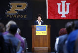 President France Cordova speaking at podium