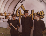 Drum majors with Purdue big bass drum