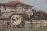 Purdue band with big bass drum