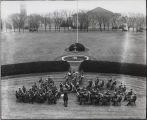 Purdue marching band playing on Memorial Mall