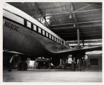 Midwest Program on Airborne Television Instruction (MPATI) airplane in hangar