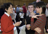Purdue President France A. Córdova talking with students