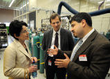 Purdue President France A. Córdova talking with Wayne Eckerle and Aleksey Yezerets