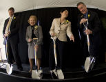 Purdue President France A. Córdova and others at groundbreaking event