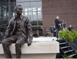 Statue of Neil Armstrong, with Neil speaking in background