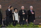 Singing of the national anthem at Armstrong building dedication