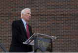Eugene Cernan speaking at Armstrong building dedication