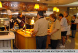 Serving food at the new dining court