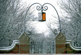 Lantern and gate, Windsor Residence Hall