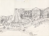 Drawing of Memorial Mall Water Sculpture and Hovde Hall