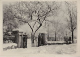 Class of 1897 gates in winter