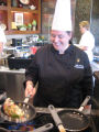 Chef Nelly Farmer, cooking in Wiley Dining Court