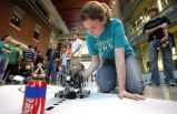 Jessie Powell working on robot for Boiler Green Initiative