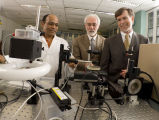 Arun Bhunia, Paul Robinson and E. Dan Hirleman in laboratory