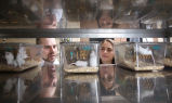 Joseph Garner and Brianna Gaskill in laboratory with lab mice