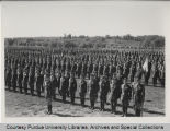 ROTC unit standing at attention for inspection