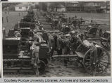 Purdue University ROTC motorized battalion being inspected
