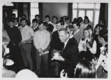 Neil Armstrong with group of Purdue University students