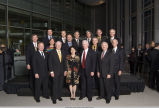 Group portrait of Purdue alumni astronauts with President Cordova