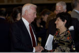 Eugene Cernan speaking with President Cordova at Armstrong dinner