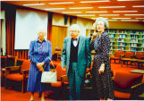 Reception in Purdue Libraries, John W. Hicks Undergraduate Library for Eugene B. Jackson receiving...