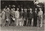 Group portrait including George Ade and Purdue President Elliott