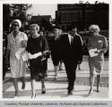 Mrs. Hovde and Queen of Afghanistan walking on campus with others
